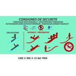 PANNEAU CONSIGNES SÉCURITÉ PISCINE 2L - 1000 X 500 X 10