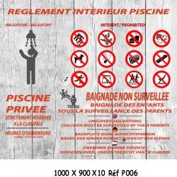 PANNEAU RÈGLEMENT INTÉRIEUR PISCINE 4L  - 1000 X 900 X 10