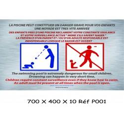 PANNEAU CONSIGNES PISCINES - 700 X 400 X 10