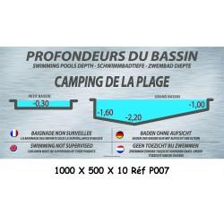 PANNEAU PROFONDEURS DES BASSINS PM - 100 X 500 X 10