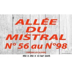 ALLÉE N° - 450 X 250 X 10
