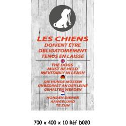 PANNEAU CHIENS EN LAISSE V 4L - 700 X 400 X 10