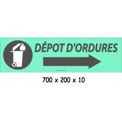 PANNEAU DÉPÔT D'ORDURES DIRECTIONEL - 700 X 200 X 10