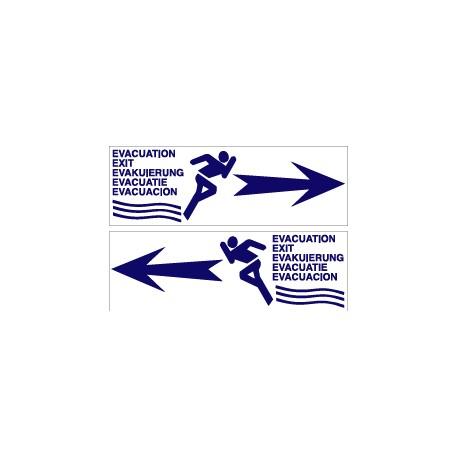 FLÈCHE ÉVACUATION BLEUE RECTO / VERSO  100 X 300 X 10
