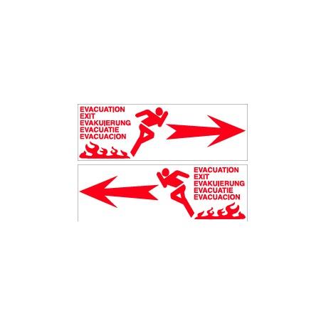 FLÈCHE ÉVACUATION ROUGE RECTO / VERSO  100 X 300 X 10