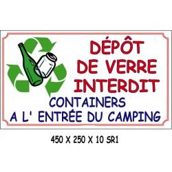 PANNEAU DÉPÔT VERRE INTERDIT - 450 X 250  X 10