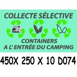 PANNEAU COLLECTE SÉLECTIVE A L ENTRÉE DU CAMPING - 450 X 250 X 10
