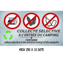 PANNEAU COLLECTE SÉLECTIVE INTERDITE - 450 X 250 X 10