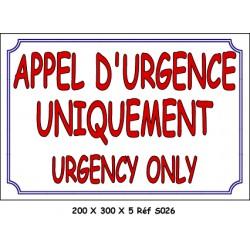 APPEL URGENCE 2L - 200 X 300 X 5