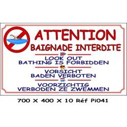 BAIGNADE INTERDITE 4L- 700 X 400 X 10