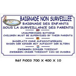 BAIGNADE NON SURVEILLÉE 4L - 700 X 400 X 10
