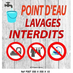 PANNEAU LAVAGES INTERDITS - 200 X 200 X 10