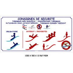 CONSIGNES SÉCURITÉ PISCINE 2L - 1000 X 500 X 10