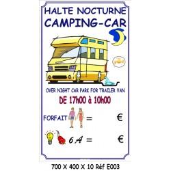 PANNEAU HALTE CAMPING CAR 2 L - 700 X 400 X 10