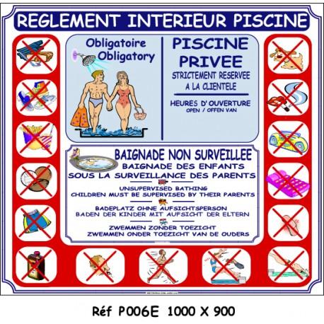 RÈGLEMENT INTÉRIEUR PISCINE MAILLOT 4L - 1000 X 900 X 10