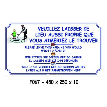 LAISSER ENDROIT PROPRE 4L - 450 X 250 X 10