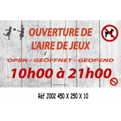 PANNEAU HEURE AIRE JEUX 4L - 450 X 250 X 10 (copie)