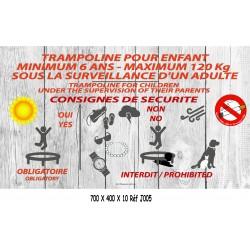 PANNEAU CONSIGNES TRAMPOLINE LOGOS - 700 X 400 X 10