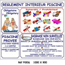 PANNEAU RÈGLEMENT INTÉRIEUR PISCINE MAILLOT 4L  - 1000 X 900 X 10