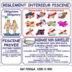 PANNEAU RÈGLEMENT INTÉRIEUR PISCINE NU 4L  - 1000 X 900 X 10