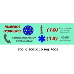PANNEAU NUMÉRO D'URGENCE - 700 X 200 X 10