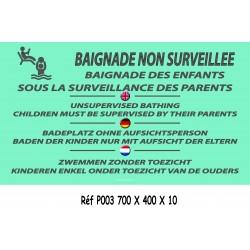 PANNEAU BAIGNADE NON SURVEILLÉE 4L - 700 X 400 X 10