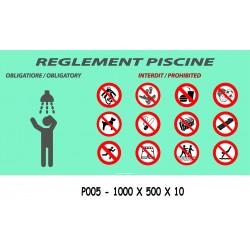 PANNEAU RÈGLEMENT PISCINE - 1000 X 500X 10